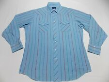 VTG WRANGLER Pearl Snap Front Long Sleeve Western Shirt Mens XL Tall XLT Striped