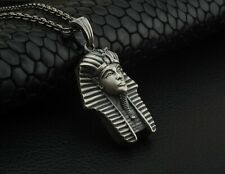 3D Oxidized Egyptian Pharaoh Mens Pendant Necklace with Silver Chain Boho Gift