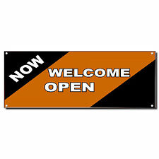Welcome Now Open Orange New Business Vinyl Banner Sign W/ Grommets 2 ft x 4 ft