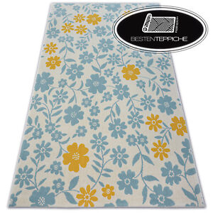 Modern Children Rug Pastel Flowers Soft and Tight Woven Balta Low-Pile