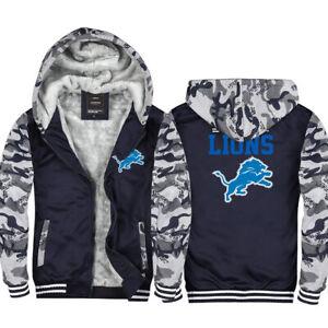 New Detroit Lions Fans Hoodie Fleece zip up Coat winter Jacket warm Sweatshirt