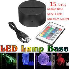 Акрилонитрил-бутадиен-стирол акрил черный 3D светодиодная лампа ночник база + Usb кабель + пульт дистанционного управления