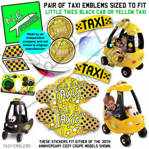 Replacement YELLOW TAXI stickers TO FIT Little Tikes Cozy Coupe cab toy car NYC