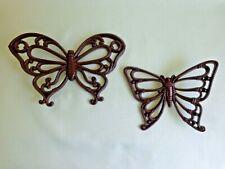 2 Wall Hanging Butterflies - Wicker Look - Homco Dart