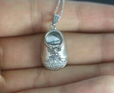 14K White Gold Round Diamond Baby Shoe Pendant 16'' Chain Necklace