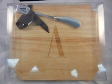 Mud Pie Wood Cheese Cutting Board with Spreader - Letter A Monogram #260201 NIB