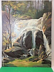 Vintage Finished Paint By Number 18 X 24 Mountain Scene Unframed