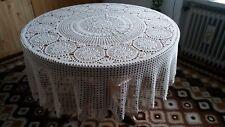gehäkelte Tischdecke HANDARBEIT rund 190 cm Filet Häkelei Baumwolle