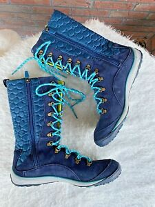 Dr Scholls Boots Size 8.5 Blue Quilted Zip Lace Up Calf High Shoes Leather Snow
