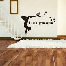 I Love Gymnastics Dancing Butterfly Wall Stickers Girls Bedroom Vinyl Wall Decor