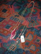 KENDRA SCOTT $98 NWT Silver & Fuchsia Ruby Long Geometric Pendant Charm Necklace
