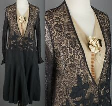VTG 1920s AS-IS Navy & Tan Nude Illusion Lace & Silk Drop Waist Dress 20s #1634
