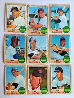 Lot of 9 1968 Topps SENATORS vintage cards Frank Howard, Ed Brinkman (white)