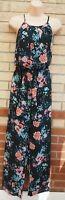 PEACOCKS BLACK PINK GREEN FLORAL BELTED SLEEVELESS CHIFFON JUMPSUIT 16 XL