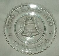 MOSSER CUP PLATE 1776-1976 Bicentennial 200 Years Ago LIBERTY BELL Clear Glass