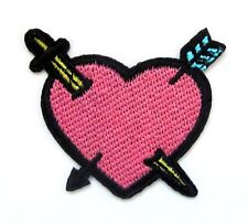 Heart With Arrow & Sword Iron On Patch- Valentines Gift Embroidered Applique