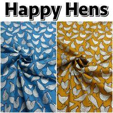 Happy Hens Chicken Farm Homestead 100% Cotton Poplin Dressmaking Craft Fabric