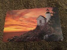 Vintage Postcard Unposted Scalloped Edge Lighthouse Sunset Bass Harbor Light Me