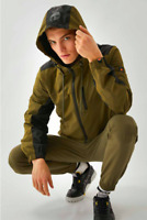 Ellesse Mens Jacket Terenzio Lightweight Khaki Green Large Black Hooded