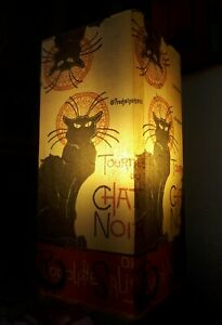 Frosted Glass Chat Noir Black Cat Table Lamp Decoupage  Handmade Gift Home Decor