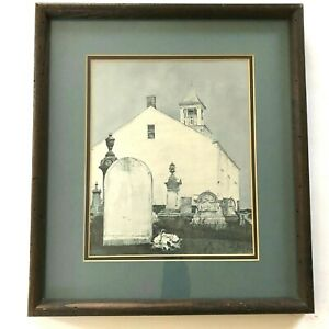 Vintage Andrew Wyeth Print Perpetual Care Graveyard Wood Framed Matted