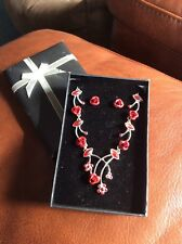 Avon Red  Necklace & Earrings Gift Set