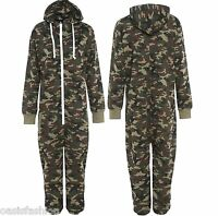 Kids Army Camo Print 1Onesie Hooded Jumpsuit All in One Boys Fleece Size 2-14yrs