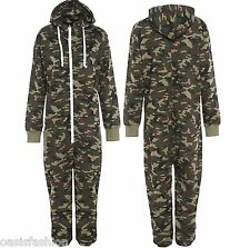 KIDS ARMY CAMO PRINT ONESIE1 HOODED JUMPSUIT ALL IN ONE BOYS FLEECE SIZE 2-14YRS