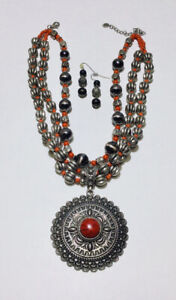Boho 3 Strand Chunky Silver & Red Bead Necklace Silver & Red Coral Medallion Vtg