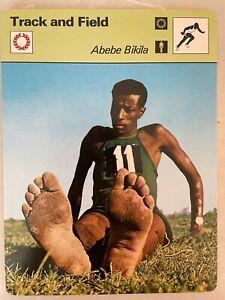 1977 Sportscaster Track and Field Card            Abebe Bikila