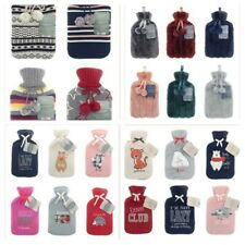 LARGE 2 LITRE NATURAL RUBBER HOT WATER BOTTLE FUR KNITTED SHERPA FLEECE COVERS