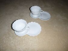 New High Tea Breakfast Set Tea Cup & Toast/Biscuit/Cake Plate White Set of 2