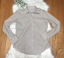 Brooks Brothers 345 Sz 4 Women's Semi Fitted All Cotton Button Up Striped Shirt