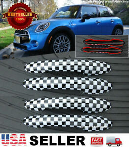 4 Pcs Checkered Pattern Exterior Door Handle Covers for 14-19 Mini Cooper F55