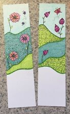 SEArts Set Of 2 Floral Bookmarks A & B Hand Drawn Art India & Colored Inks