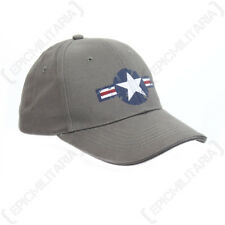 Grey USAF Baseball Cap - One Size - American Sun Peak Hat Air Force Star NEW
