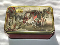 VINTAGE  MADE IN USA YE OLD INN HORSE & CARRIAGE DOG DUCK RED TIN