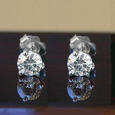 2.00 CT FOREVER ONE MOSSANITE ROUND THREE PRONG MARTINI SOLITAIRE STUD EARRINGS