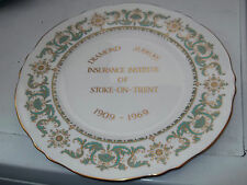 CROWN STAFFORDSHIRE LARGE PLATE  FOR DIAMOND JUBILEE INSURANCE INSTITUTE STOKE