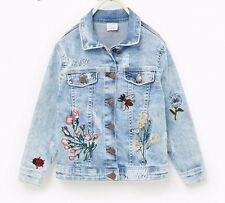 ZARA EMBROIDERED PATCH DENIM JACKET GIRLS 13-14 Y.O. OR WOMEN SZ  XS-S 6-8