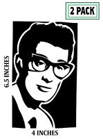 2 PACK BUDDY HOLLY Stickers Vinyl Decals and the Crickets Picks
