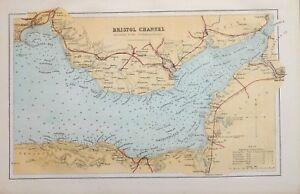 1885 MAP BRISTOL CHANNEL GLAMORGANSHIRE BRIDGEWATER BAY SWANSEA BAY