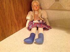 "Vintage Poland Celluloid Face Doll 12"" Braided Blond Hair Blue Eyes Cute Dress"