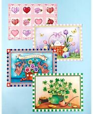 Set of 4 Spring Seasonal Dishwasher Magnets Valentine St. Patrick Easter USA