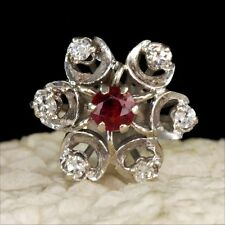 Super white gold ruby & brilliant-cut diamonds ring size 6 1/2 rings M-F