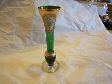 "Czech Bohemian Forest Green Glass 8"" Bud Vase"