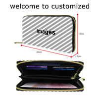 Personalized PU Leather Long Wallet Womens Mens Card Cash Holder Purse Clutch