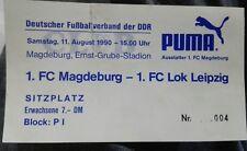 Ticket 11.8.90 1.FC Magdeburg 1.FC Lok Leipzig DDR Oberliga Eintrittskarte FCM