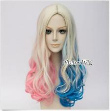Hot Sale Curly Blonde PinkBlue Mixed For Harley Quinn Cosplay Wig Heat Resistant