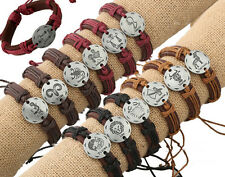 Wholesale 12pcs Handmade Leather Accessories 12 CONSTELLATIONS Bracelet for Gift